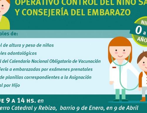 Realizan operativo sanitario a chicos y embarazadas en 9 de Abril