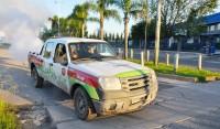 El Municipio de Esteban Echeverría realizó tareas de fumigación ambiental en Coronel Dupuy, frente al Colegio Grilli, en Canning; en el cementerio del distrito; y en Pablo Pizurno y Battipede, Monte Grande, en función de reducir la población general de mosquitos.