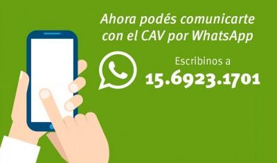 El Municipio de Esteban Echeverría suma al Centro de Atención al Vecino (CAV) el número 11-6923-1701, con el objetivo que todos los echeverrianos puedan realizar sus consultas y demandas por Whatsapp, de manera gratuita, de 7 a 23 horas.
