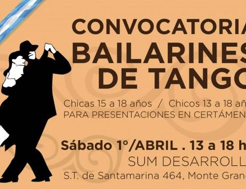 Convocatoria a bailarines de tango