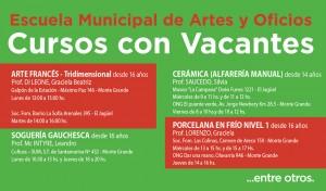Como todos los años, los vecinos podrán inscribirse, a partir de esta semana, en los cursos vacantes de la Escuela Municipal de Artes y Oficios, que se llevan a cabo en distintos puntos del distrito.