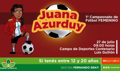 """A partir de esta semana, comienza la convocatoria al primer campeonato de fútbol femenino """"Juana Azurduy"""" en Esteban Echeverría, actividad destinada a mujeres de entre 12 y 20 años, en función de fomentar la inclusión del género femenino en este deporte."""