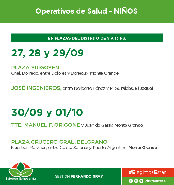 El Municipio de Esteban Echeverría llevará a cabo controles de salud para niños los días miércoles, jueves, viernes, sábado y domingo, de 9 a 13, en Monte Grande y El Jagüel.