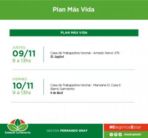 El Municipio de Esteban Echeverría llevará a cabo inscripciones al Plan Más Vida -con entrega de leche en polvo- el jueves 9 en Amado Nervo 375, El Jagüel, y el viernes 10 en el Barrio Sarmiento, Manzana 12, Casa 6, 9 de Abril.