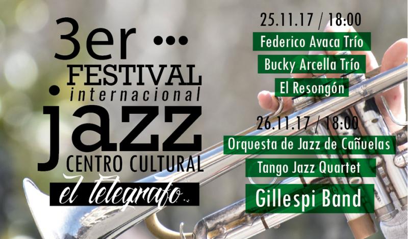 El próximo fin de semana, los vecinos podrán disfrutar del 3º Festival Internacional de Jazz en el distrito, a partir de las 17, en el Centro Cultural El Telégrafo de Monte Grande, con entrada libre y gratuita.