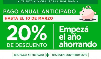 """El Municipio de Esteban Echeverría lanzó """"LA TASA 10, 12 meses, pagás 10"""", importante beneficio que alcanza el 20 por ciento de descuento a los contribuyentes que efectúen por anticipado el pago del Tributo Municipal por la Propiedad, que no contraigan deuda al 31 de diciembre de 2017."""