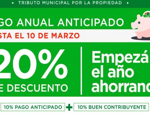 Descuento de hasta el 20 por ciento en el Tributo Municipal por la Propiedad