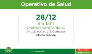 El Municipio de Esteban Echeverría realizará controles de salud para niños el jueves 28 de diciembre, de 9 a 13, en la Unidad Sanitaria 10, ubicada en Av. Luis Vernet y G. Garreador, Monte Grande.