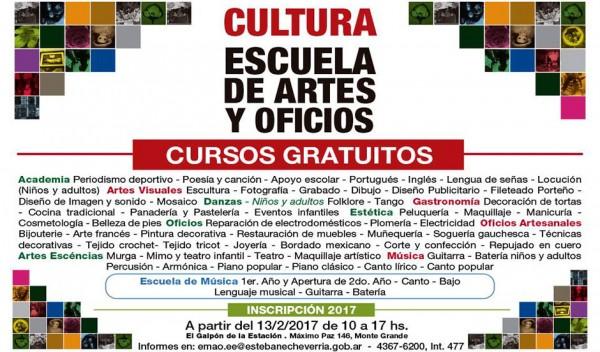 La Escuela municipal de Artes y Oficios invita a los vecinos a inscribirse a los talleres gratuitos a partir del 13 de febrero, de 10 a 17, en El Galpón de la estación, ubicado en Máximo Paz 146, Monte Grande.