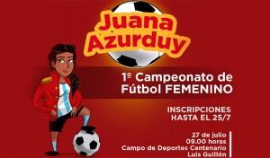 """Hasta mañana martes 25, el Municipio de Esteban Echeverría continúa con la convocatoria al primer campeonato de fútbol femenino """"Juana Azurduy"""", actividad destinada a mujeres de entre 12 y 20 años, que busca fomentar la inclusión del género femenino en este deporte."""