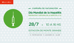 El Municipio de Esteban Echeverría realizará, mañana viernes 28 de julio, una jornada de concientización y vacunación por el Día Mundial de la Hepatitis, de 10 a 16, en la Estación de Monte Grande, ubicada en O. Petrazzini y Leandro N. Alem.
