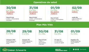 El Municipio de Esteban Echeverría desarrollará, la próxima semana, inscripciones al Plan Más Vida- con entrega de leche en polvo- en conjunto con operativos de salud destinados a mujeres y niños de 0 a 6 años, en 9 de Abril, El Jagüel, y Monte Grande Sur.