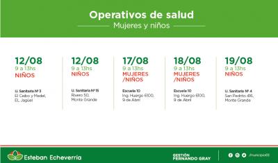 Durante la próxima semana, el Municipio de Esteban Echeverría realizará operativos de salud destinado a niños y mujeres en El Jagüel, Monte Grande y 9 de Abril.
