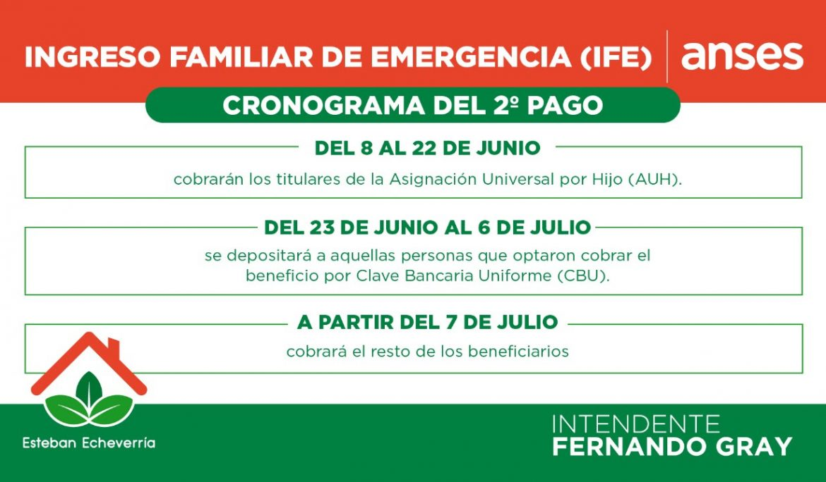 SEGUNDO PAGO DEL INGRESO FAMILIAR DE EMERGENCIA (IFE)