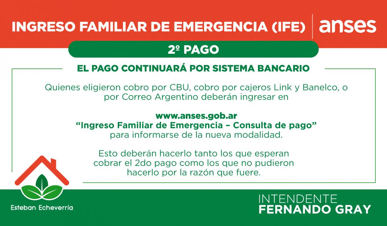 Segundo pago del Ingreso Familiar de Emergencia