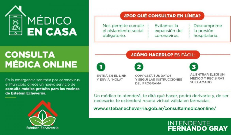 """Más de 1000 vecinos usaron la App """"Médico en casa"""" de Esteban Echeverría"""