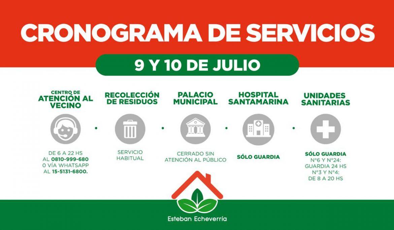 CRONOGRAMA DE SERVICIOS PARA EL JUEVES 9 Y VIERNES 10 DE JULIO