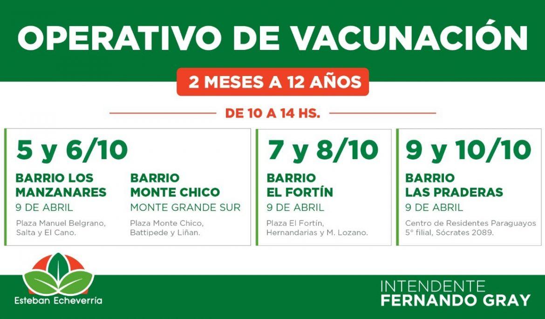 CRONOGRAMA DE VACUNACIÓN EN MONTE GRANDE SUR Y 9 DE ABRIL