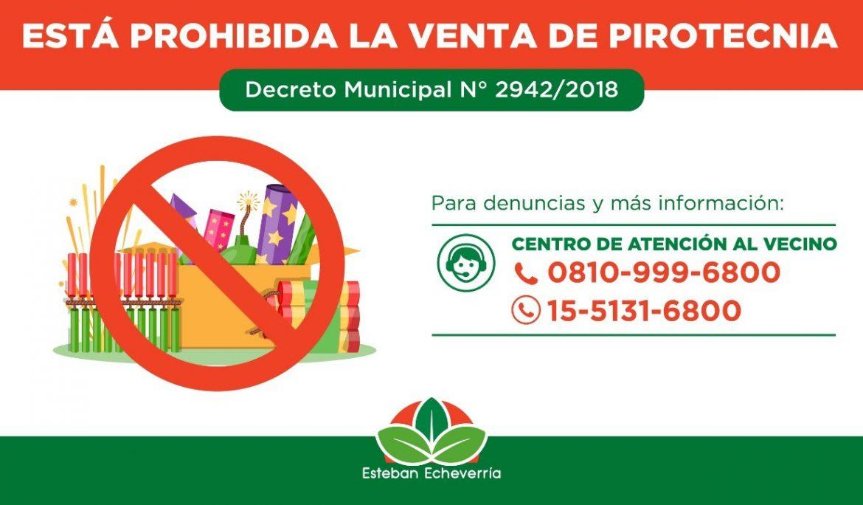 PROHIBICIÓN DE VENTA DE PIROTECNIA EN ESTEBAN ECHEVERRÍA