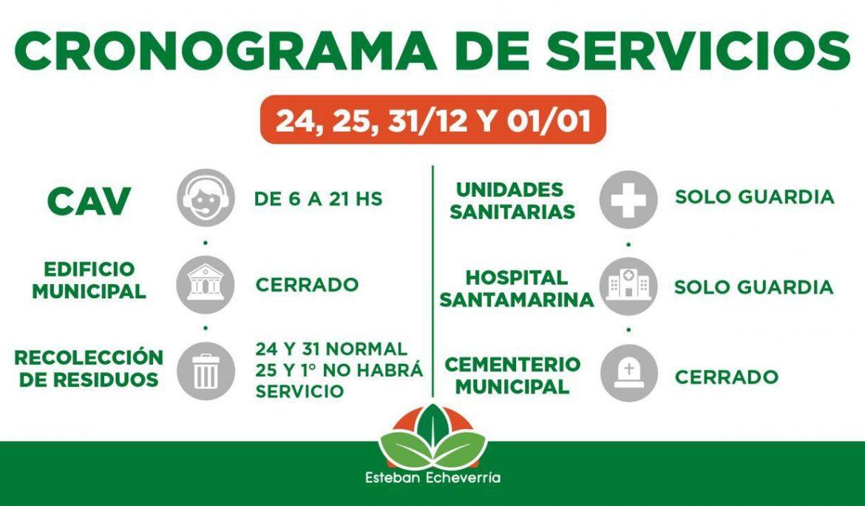 CRONOGRAMA DE SERVICIOS PARA LAS FIESTAS
