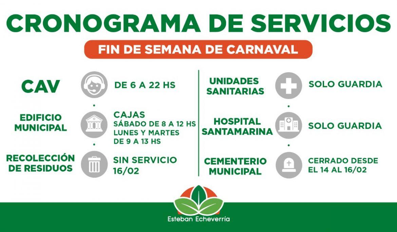 CRONOGRAMA DE SERVICIOS DURANTE EL FIN DE SEMANA DE CARNAVAL