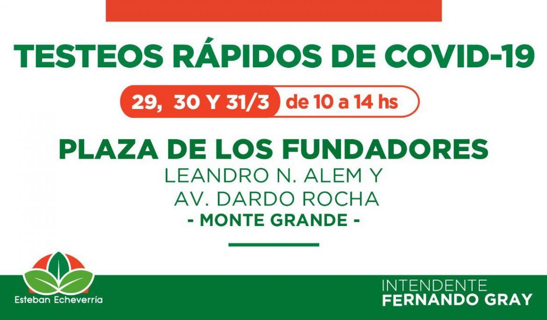 CONTINÚAN LOS TESTEOS RÁPIDOS DE COVID-19 EN LA PLAZA DE LOS FUNDADORES