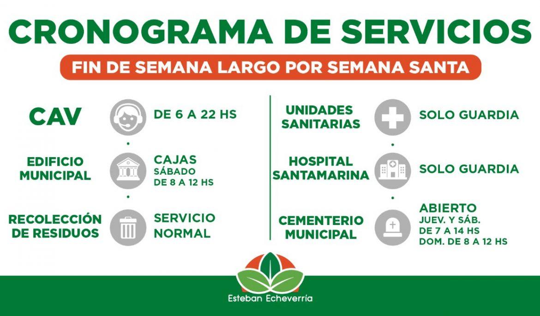 CRONOGRAMA DE SERVICIOS MUNICIPALES DURANTE SEMANA SANTA
