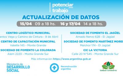 """ACTUALIZACIÓN DE DATOS DE TITULARES DEL PROGRAMA """"POTENCIAR TRABAJO"""""""
