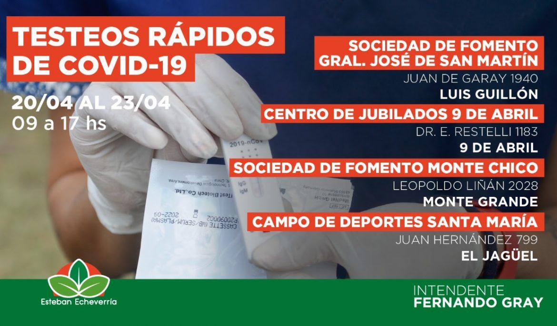 CUATRO NUEVOS CENTROS DE TESTEO RÁPIDO DE COVID-19 EN ESTEBAN ECHEVERRÍA