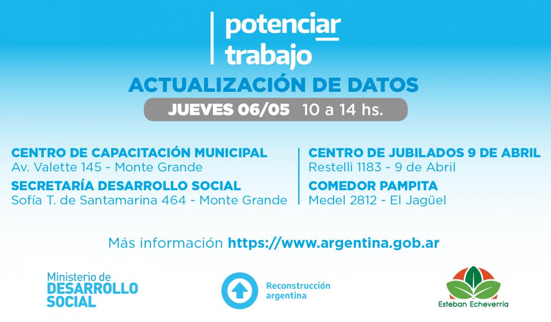 """ACTUALIZACIÓN DE DATOS PARA TITULARES DEL PROGRAMA """"POTENCIAR TRABAJO"""""""