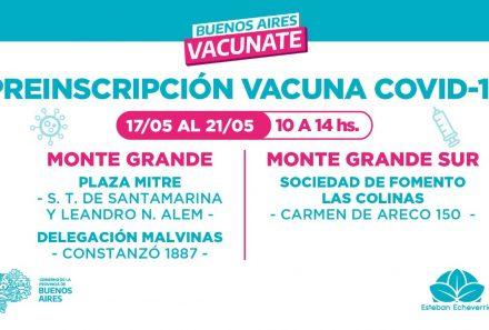 CONTINÚA LA PREINSCRIPCIÓN PARA LA VACUNA CONTRA EL COVID-19