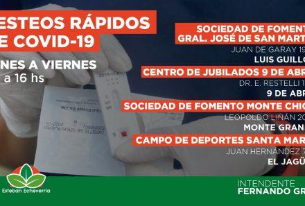 CONTINÚAN LOS TESTEOS RÁPIDOS DE COVID-19 EN ESTEBAN ECHEVERRÍA