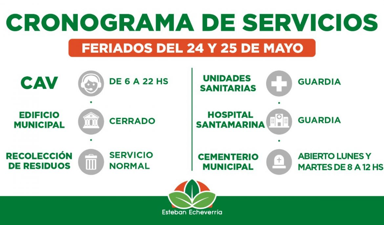 CRONOGRAMA DE SERVICIOS MUNICIPALES DURANTE LOS FERIADOS DEL 24 Y 25 DE MAYO