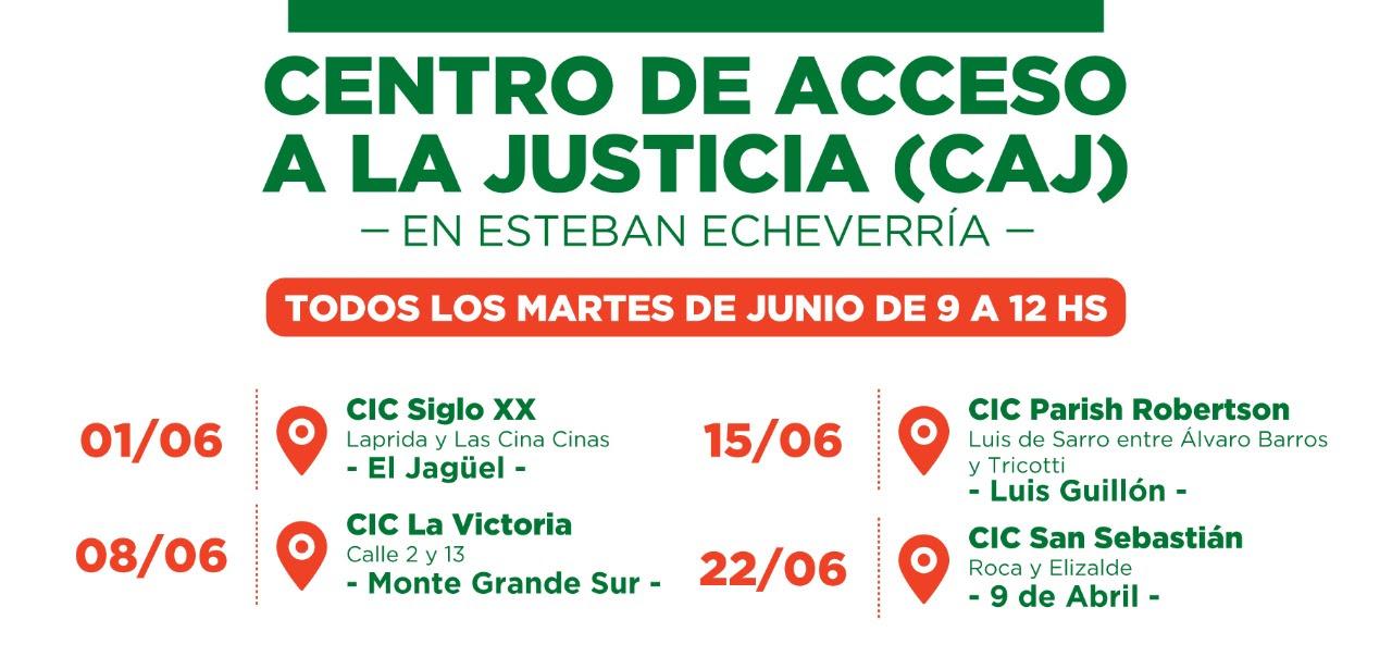 EL CENTRO DE ACCESO A LA JUSTICIA ATENDERÁ EN ESTEBAN ECHEVERRÍA