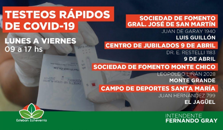 ESTA SEMANA CONTINÚAN LOS OPERATIVOS DE TESTEO RÁPIDO