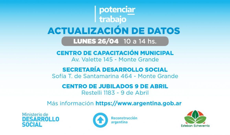 NUEVA JORNADA DE ACTUALIZACIÓN DE DATOS PARA TITULARES DE POTENCIAR TRABAJO