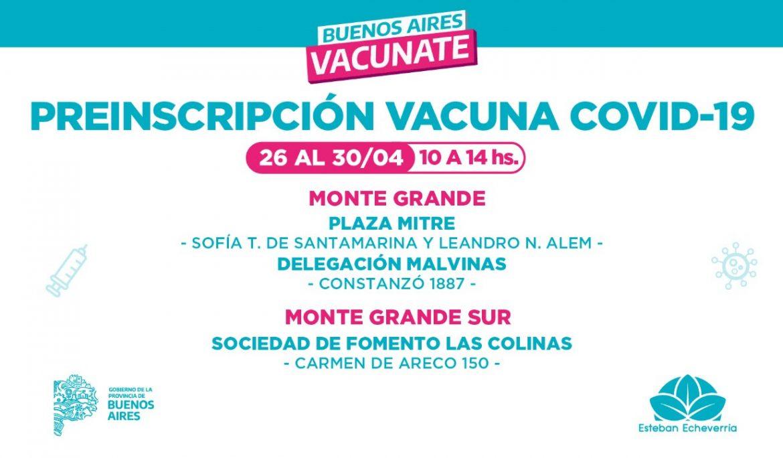 OPERATIVOS DE PREINSCRIPCIÓN PARA LA VACUNA CONTRA EL COVID-19