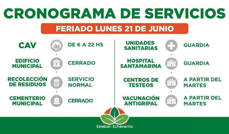 CRONOGRAMA DE SERVICIOS MUNICIPALES DURANTE EL FERIADO DEL LUNES 21 DE JUNIO