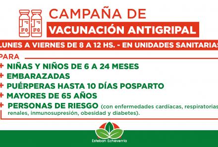 CAMPAÑA DE VACUNACIÓN ANTIGRIPAL EN ESTEBAN ECHEVERRÍA