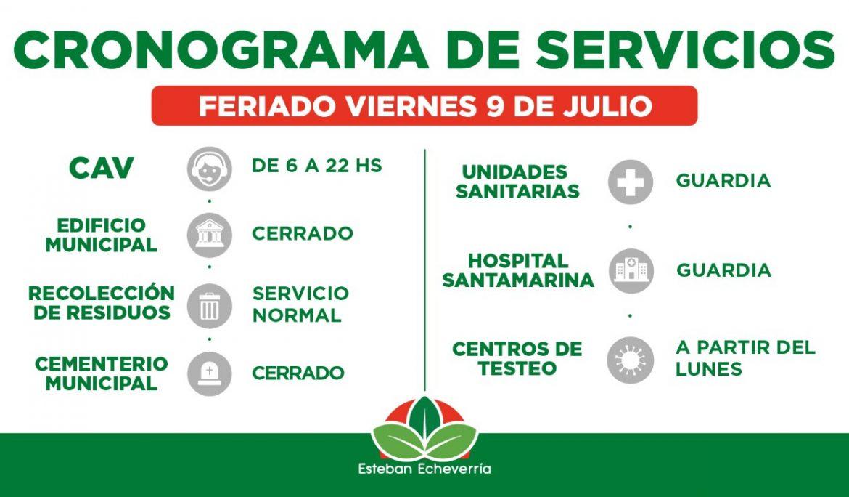 CRONOGRAMA DE SERVICIOS MUNICIPALES DURANTE EL FERIADO DEL 9 DE JULIO
