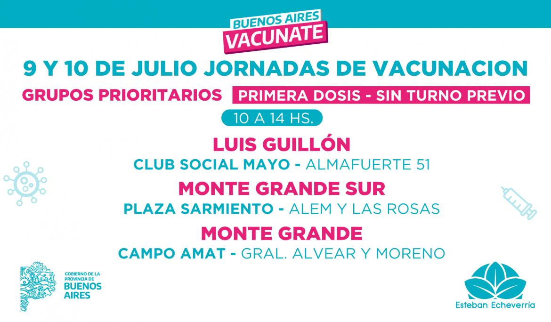 JORNADAS DE VACUNACIÓN CONTRA EL COVID-19 SIN TURNO PARA GRUPOS PRIORITARIOS