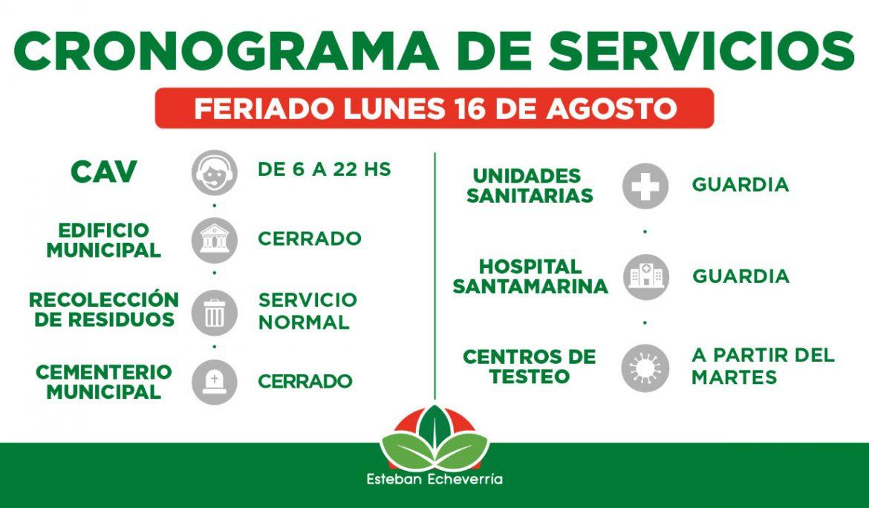 CRONOGRAMA DE SERVICIOS MUNICIPALES DURANTE EL PRÓXIMO FERIADO