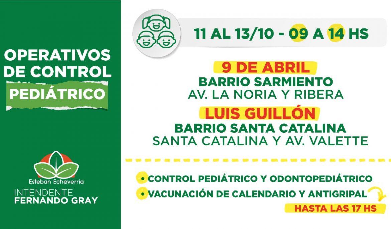 CONTROLES PEDIÁTRICOS EN 9 DE ABRIL Y LUIS GUILLÓN